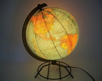"""Vintage 10.5"""" Illuminated Glass Globe Mid Century Modern Cram's 1950s"""
