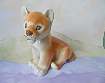 USSR Lomonosov Porcelain LION CUB Figurine