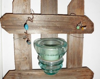 Rustic Glass Insulator Wall Candle Sconce