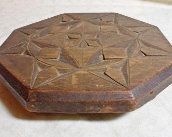 Vintage Hand Carved Wood Trivet