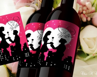 DIY PRINTABLE Declaration of Love-City Life-Custom Wine Label - Personalized Wine Label - Engagement/Anniversary Wine Bottle Label