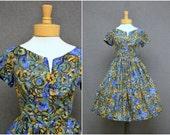 1950s Watercolor Silk Floral Dress