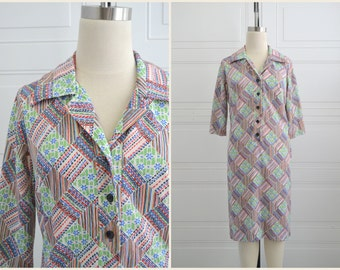 1970s Printed Polyester Shirt Dress