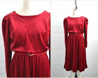 1980s-does-1940s Deep Red Velour Dress