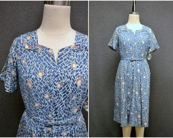 1940s Blue Rayon Print Dress