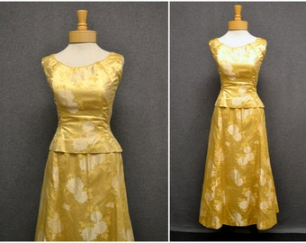 1960s Gold Brocade Top and Skirt