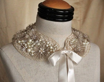 ABRIELLE Mixed Media Pearl  Textile Collar