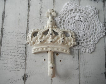 wall hook french country crown hook shabby chic coat hook rustic hook decor antique white clothing hook nursery decor paris apartment