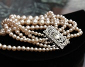 Faux Pearl Bracelet - 5 Strands - Rhinestone Clasp - Stunning!