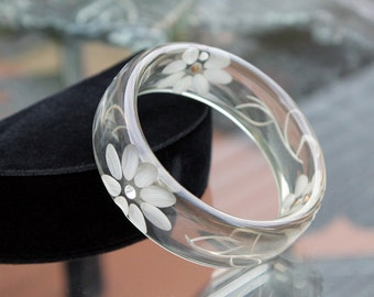 Lovely Clear Lucite or Acrylic Bangle with Carved Flowers, 1990s