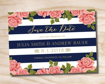 Gold Glitter Floral Stripe Wedding Navy and Gold Save the Date Printed Sample