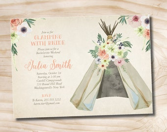 Printable Glamping with the Bride Invitation, Shabby Chic Weekend Bachelorette Party, Boho - Digital Invitation