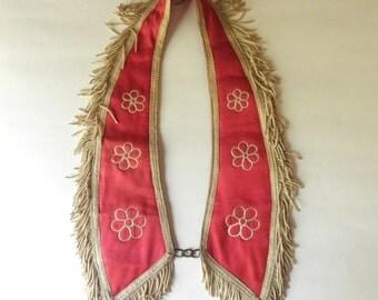 Antique 1800s Odd Fellows Collar Regalia Ornate Red Silk and Linen Flowers Ceremony Lapel Halloween Trim Fringe Tassel Jackpot Jen Vintage