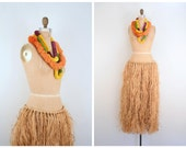 authentic 1940s hula girl costume - grass skirt & leis / WW2 - Hawaiian lual / 40s pin up - Halloween costume