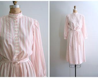 70s red & ivory striped dress - vintage 1980s secretary / Cult Party Kei - stripe