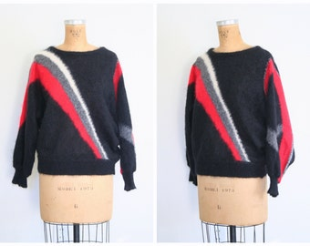 vintage 1980s punk mohair sweater - geometric - striped / New Wave - batwing sleeves / 80s - EUR 36