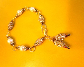 A Vintage Classic: Sensational BRIDAL PEARL Bracelet w/Swarovski Crystals, Gold Plate, Pearls, 14k Gold and 2 Elaborate Rhinestone Dangles