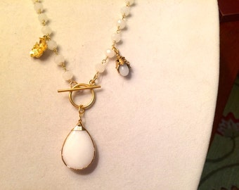 First Class 24k Gold, Bezel-Set, Faceted & Domed WHITE JADE Pendant, VERMEIL Drops w/White Jade Rosary Chain 3-Pendant Necklace