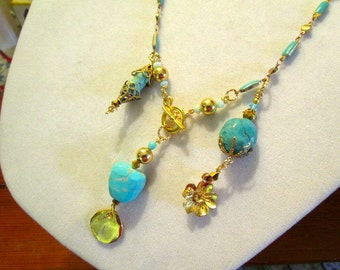 Divine Genuine TURQUOISE, & 24k Gold, Turquoise ENAMEL Rosary Chain STATEMENT Necklace With Multiple Turquoise and Gold Pendants