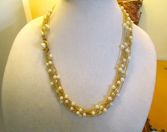 The All Purpose Beauty: MINT Lovely 6-Strand Vintage Gold Plate & Faux PEARL Necklace With Decorative Clasp - Never Worn