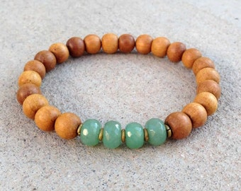 "Sandalwood and Aventurine ""Fourth Chakra"" bracelet, chakras, yoga jewelry"