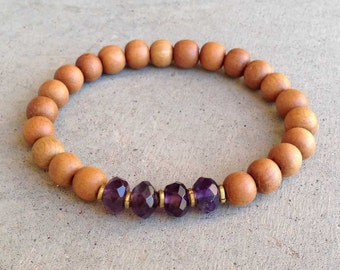 "Sandalwood and Amethyst ""Seventh Chakra"" bracelet"