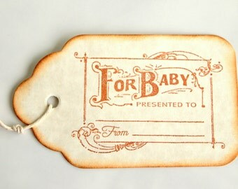 10 Baby Tags - Vintage Baby Tags - Baby Gift Tags - For Baby Tags - Vintage Inspired Tags - Vintage Gift Tags - Baby Shower Tags - Baby Wish