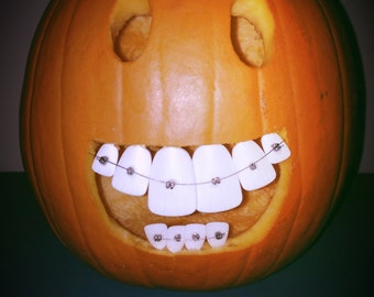 3 Packs Glow in the dark Buckteeth PUMPKIN TEETH - sm, med, large (36pcs)