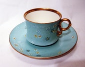 "Antique Royal Cauldon Turquoise ""Powell"" Pattern Demi-Tasse Cup & Saucer"