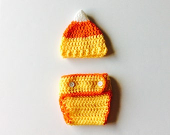 MADE TO ORDER Candy Corn Hat and Diaper cover set, baby photo prop set, Fall baby photo prop set, custom sizes