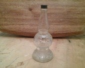 Vintage dainty small glass bottle metal lid decanter primitive antique