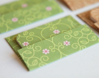 NEW - Mini Cards n Envelopes - Set of 8 - Green Designs with Tiny Flowers and Brown Dahlia Mum Flowers