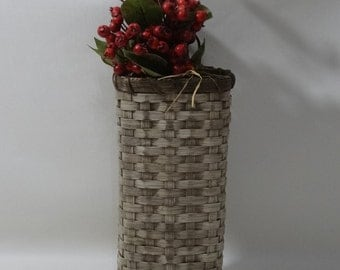 Wall Basket-Painted-Primitive Style / Handwoven Basket