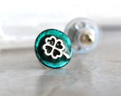 teal four leaf clover earrings, stud earrings, celtic jewelry, irish jewelry, mens jewelry, mens earrings, unique gift, womens gift
