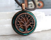 teal tree of life necklace, tree necklace, mens necklace, celtic jewelry, unique gift, mens gift, mens jewelry, nature necklace, oak tree