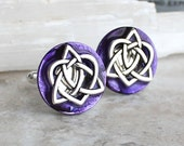 purple celtic knot cufflinks, triquetra cufflinks, celtic heart, anniversary gift, celtic cufflinks, irish jewelry, mens jewelry, mens gift
