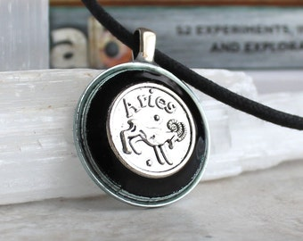 black aries necklace, astrology jewelry, zodiac necklace, aries jewelry, birthday gift, unique gift, zodiac sign, astrological sign