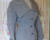 1950s Vintage Skirt Suit / Silver Grey Floral Brocade / Fitted Jacket / Slim Wiggle Skirt / RUMONTE / XS Extra Small / 24 Waist
