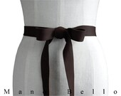 Brown Leather Ribbon Belt - Goatskin Leather Bow Belt - Leather Strap Belt -  Dark Brown Leather Ribbon Belt - Rustic Wedding Dress Sash