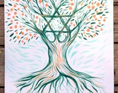 Tree of life art, Folk Magen David, tree painting, jewish art tree, bar mitzvah tree, folk illustration, acrylic painting, green and orange,