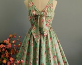 Green floral bridesmaid dress floral sundress bow back party gown