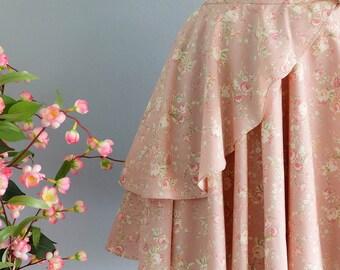 Summer's Whisper Floral Skirt Spring Summer Sweet Pink Floral Skirt Party Cocktail Skirt Wedding Bridesmaid Skirt Dusty Pink Floral Skirts