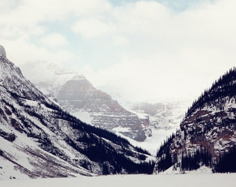 Lake Louise, Banff, Alberta, Canadian Rockies, Frozen, Rocky Mountains, Canada, Mountain Print, Decor, Art, Winter, Snow, Large Print