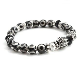 Silver Lucky Elephant Charm Bracelet - Original the Lucky Elephant Design, Natural Stone, Sterling Silver