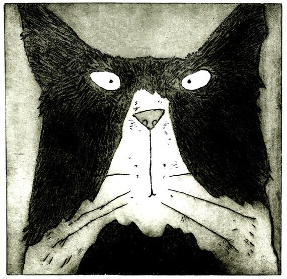 Tom Cat original black and white Tom cat print black by ...