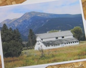 Barn and Mountains Photo Note Card - Rural Nature Photography Montana