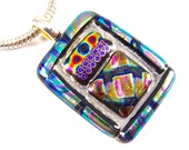 "Dichroic Pendant - Green Blue Teal Purple Orange Pink Patterned Dichro Rainbow Prism - 1.25"" 30mm Clear Stained Glass Dots Striped Frame"