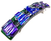 "Dichroic Glass Barrette - Blue Green Purple Dicro over Green Clear Polka Dotted Bubbles Patterned Recycled Fused Glass - 3.5"" / 9cm Chunky"