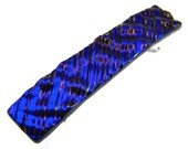 "Dichroic Barrette - 2.5"" / 6.5cm SMALL - Cobalt Blue Navy Metallic Fused Glass Ripple Waves - Purple Highlights"