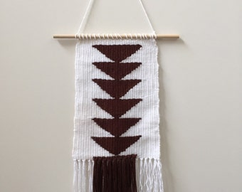 Hand woven geometric brown and white wall hanging